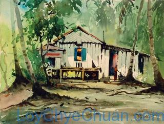 Watercolour Painting of Kampong Hut 1962