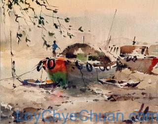 Watercolour Painting of Singapore River 1982