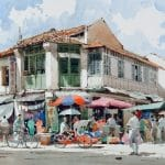 Watercolour Painting of Street 1995