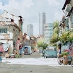 Watercolour painting of Street 1997