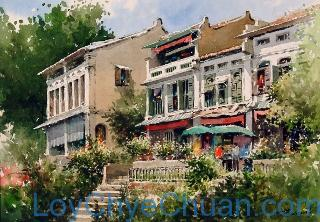 Watercolour Painting of Old Building at Mohamed Sultan Road 2007