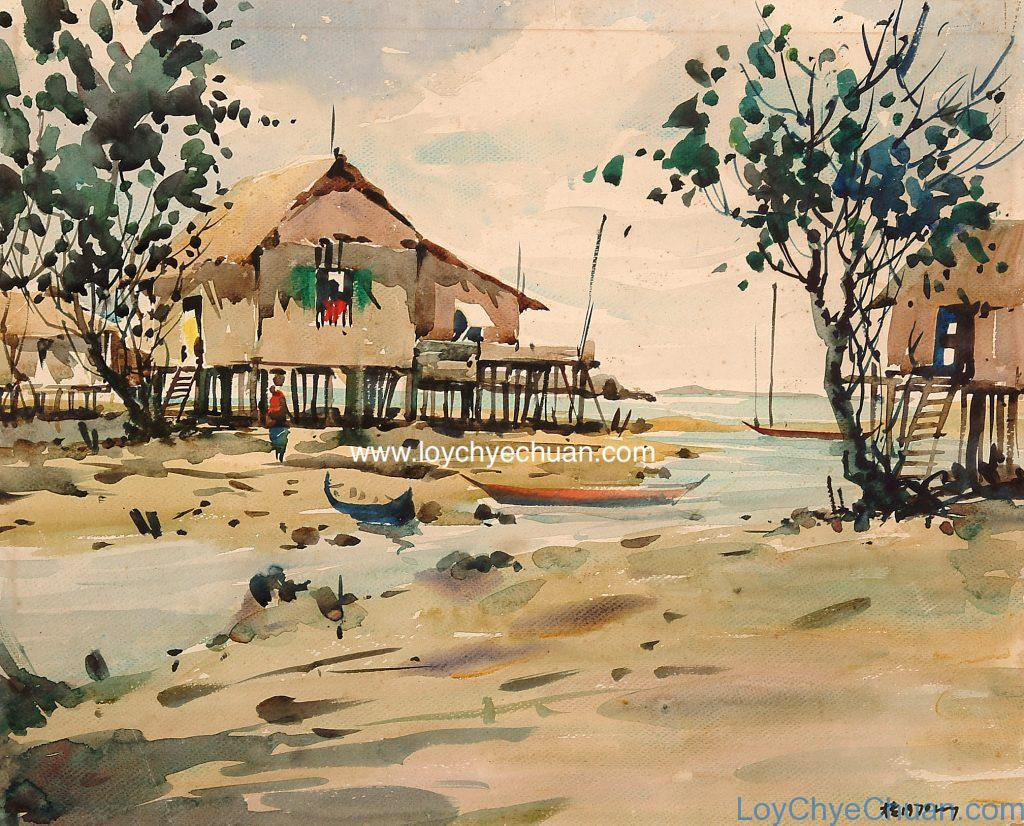 Watercolour Painting Of Kampong At Tuas Made In 1970.